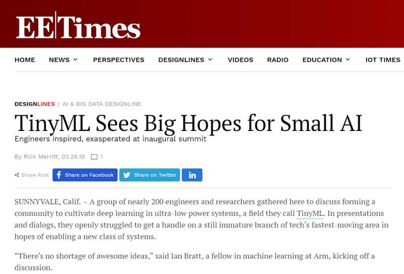 TinyML Sees Big Hopes for Small AI (EE Times)